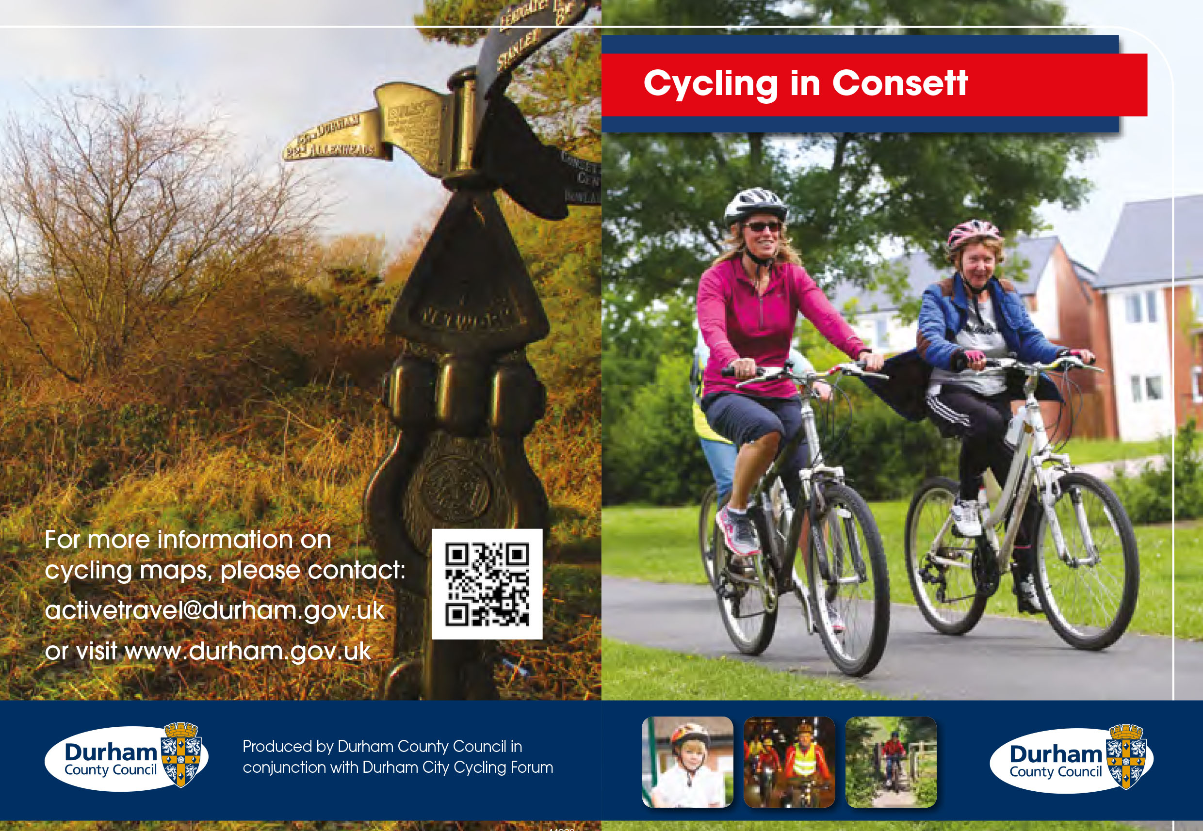 Cycling In Consett front page of PDF creating link to website