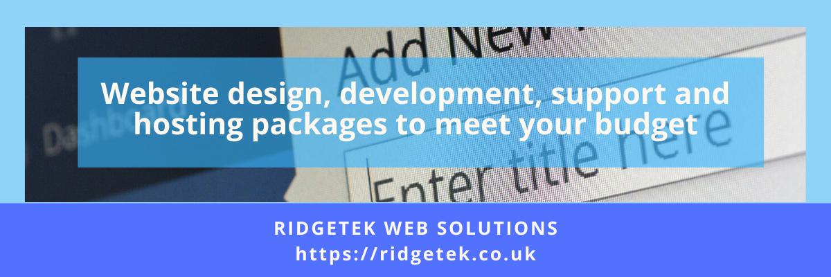 RidgeTek Advert for Web Services