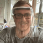 Gary Scott wearing a Protective mask that he created on his 3d printer